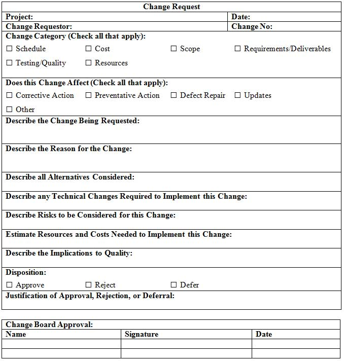 Free Change Request Template Project Management Docs