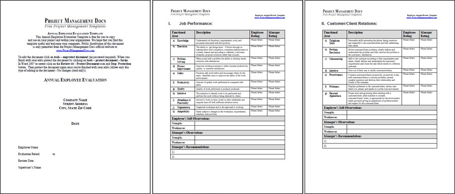 Employee annual review template project management docs for Yearly employee review template